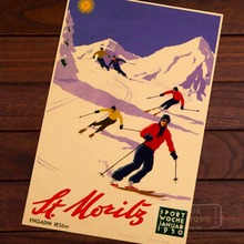 Funny Skiing Vintage Retro Decorative Poster DIY Wall Home Bar Posters Home Decor Gift