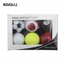 Kofull 6pcs/pack Novelty Sports Practice Golf balls ballen Two Layer Golf pelotas Assorted Golf Ball Driving Range Ball With Box