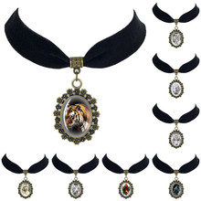Glass cabochon Black Velvet Choker Necklace White Tiger Pendant Necklace Rare Wild Animal charm amulet  fashion jewelry