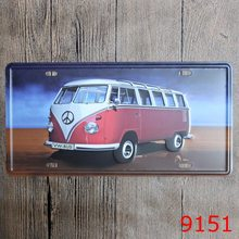 VW bus License Plate Iron painting Vintage Plate Burger Coffee Beer Metal Poster Home Wall Art Painting Iron Plaque 30*15cm