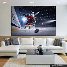 Hockey Men Ice rink Rays of light Uniform Portrait Modern oil Painting Drawing art Spray Unframed Canvas action design23100358