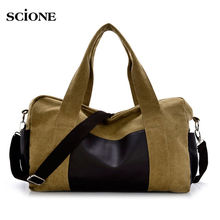Sport Bag Training Gym Leather Canvas Patchwork Men Woman Fitness Travel Bags Outdoor Sports Handbag Shoulder Tote Male XA112WA