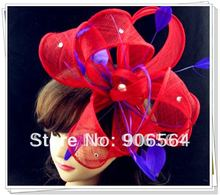 Free shipping red fascinators with purple feather decoration high quality sinamay fascinator hats great cocktail hats MSF126