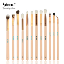 BEILI 12pcs Rose Golden 100% Natural Goat Pony Synthetic Hair Eye shadow Eyeliner Concealer Makeup Brush Set