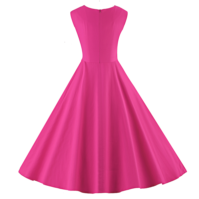 Kostlich 6 Color Retro Summer Dress Women 2017 Sleeveless Hepburn 50s Vintage Dress Elegant Big Swing Rockabilly Party Dresses (17)