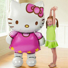 1pc 115*69cm Large model Hello Kitty Cat Foil Balloons Cartoon Birthday Wedding Decoration Party Inflatable Air Balloons Heat