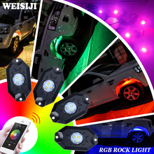 WEISIJI 1Set 4 Pods with CREE Chips Car Decorate Phone Bluetooth Controller RGB LED Rock Light for Jeep Hummer SUV 4*4 Off-roads