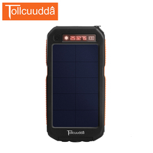 TOLLCUUDDA 12000mAh  Solar Power Bank 2 USB Portable with 3 LED Flashlight External Battery Pack Outdoor Accessory for iPhone
