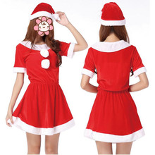 2017 New Sexy Red Christmas Women Girls Costume Santa Claus Cosplay Clothing New Year Xmas Party Supplies Natal Navidad