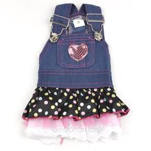 Top Quality Jeans dog clothes Brand New Pet clothes Cute Lace Heart dog clothing Dress Skirt 2017 New Drop shipping