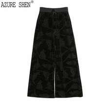 Buy AZURE SHEN Spring 2018 Drawstring Velvet Hot Sale Women Clothing Loose Big Size Pleated Lady Pant Fashion Tide MA82311 for $27.52 in AliExpress store