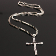 HOMOD High Quality The Fast and the Furious Celebrity Vin Diesel Item Crystal Jesus Cross Pendant Necklace for Men Gift Jewelry(China)
