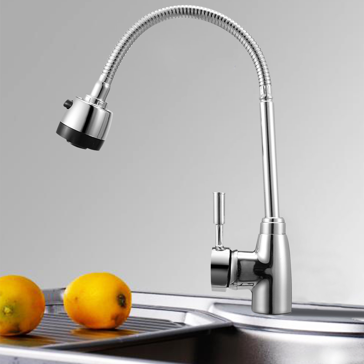 1pcs Zinc Alloy 360 Degree Rotatable Spout Kitchen Hot Cold Mixer Sitting Tap Handheld Wash Basin Faucet For Deck Mounted