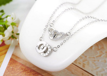 2016 new arrival trendy sterling silver gold necklaces collares women jewelry cz diamond heart circle pendants for party wedding