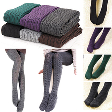 Buy Fashion Womens Tights Knit Winter Pantyhose Tights Warm Cotton Stockings Polyester Warm Solid Color Tight Female
