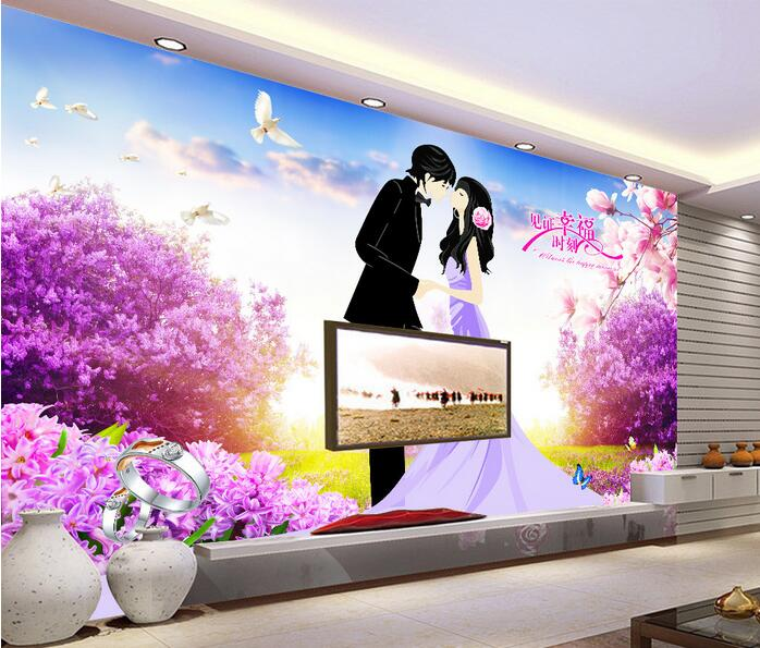 3d room wallpaper custom mural non-woven Witness the happy moments violet landscapes mural painting photo wallpaper for walls 3d<br>