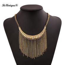 2017 Magazine Exaggerated statement necklace Metallic tassel choker necklace pendant Jewelry Moon shape Big Chunky Gold Torques