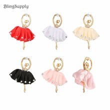 10PCS flatback tutu dance girl crystal rhinestone button embellishment for DIY phone case can mix 5 colors(BTN-5711(China)