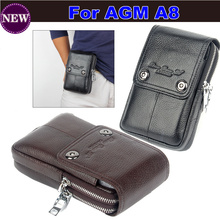 2017 Hot ! Genuine Leather Carry Belt Clip Pouch Waist Purse Case Cover for AGM A8 Mobile Phone Bag Mobile Cell Phone Bag(China)