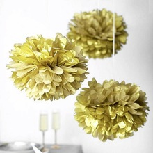 "5pc Metallic Gold  6""/10"" Circle Garland &Tissue Pom Poms Paper Flower Ball Hanging Showers Party Birthday Wedding decoration"