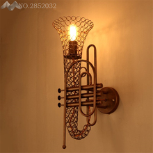Nordic vintage Creative saxophone iron wall lamp retro art instrument wall light for bar cafe restaurant decor lighting fixture
