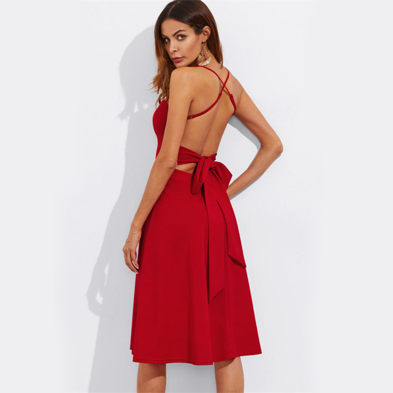 COLROVIE Crisscross Belted Back Cut Out Fitted & Flared Dress Red Spaghetti Strap Sleeveless Sexy A Line Party Dress Green 10