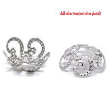 "DoreenBeads Alloy Beads Caps Flower Silver Tone (Fits 10.0mm Beads) Flower Hollow Pattern 10.0mm( 3/8"") x 4.0mm( 1/8""), 65 PCs"