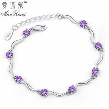 Fashion Cubic Zircon Crystal Bracelet for Women 2017 Newest Love Gift Vintage Silver Plated Bracelet Bangles Fine Jewelry(China)