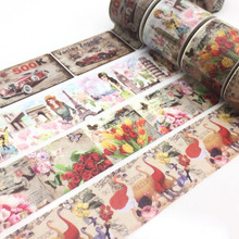 Retro London Flower Washi Paper Vintage Car Masking Tapes DIY Tape Scrapbooking Sticker Decorative Stickers Party Favors(China)