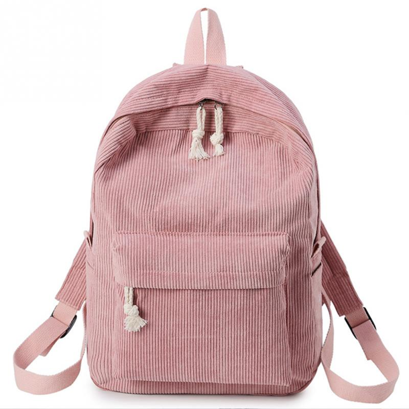 Pink Women Velvet Backpack Bag Rucksack Lightweight Durable Casual School Bag