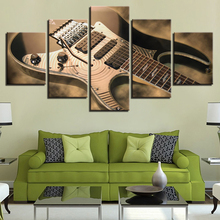 Canvas Painting Wall Art HD Prints Framework 5 Pieces Electric Guitar Pictures Vintage Music Instrument Poster Living Room Decor(China)