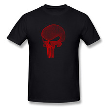 Red Punisher Print Cotton O-Neck Short Tee shirt Men Cartoon Die Dye Fitness Camisetas Mujer(China)