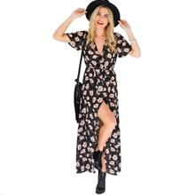 Women Sexy Dress Summer Short Sleeve Lace up Long Maxi Dress Girls V-neck Floral Printed Vintage Casual Beach Hobo Hippie Dress(China)