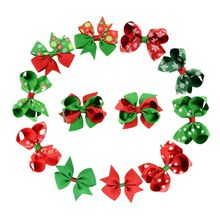 2017 New 12Pcs/lot Christmas Gift Kids Hair Clip Bow Snowflake Hair Accessories Flower Party Hairpin Ribbon Children Headwear