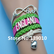 Infinity Love England Heart Bracelets Green Red Beige Leather Suede Rope Wrap Customize Women Men Football Team Sports Bangles(China)