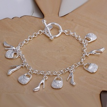 Silver plated exquisite bag is shoes Pendant bracelet fashion charm joker temperament female section birthday gift H108(China)