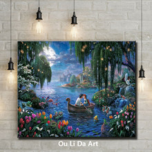 cartoon figures lover boat lake sky lanterns scenery oil painting canvas printings printed on canvas wall art decoration picture(China)