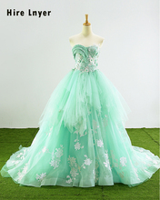 Najowpjg 2017 New Special Sweetheart Neck Lace Up Appliques Pearls Mint Green Ruffled Organza Ball Gown Wedding Dress Plus Size(China)