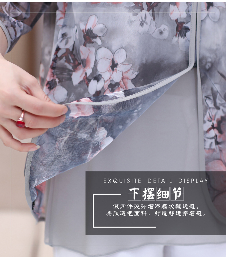 WAEOLSA Chinese Style Woman Ethnical Chiffon Blouses Gray Blue Red Green Flower Layered Tops Women Oriental Boon Design Blouse Lady Crepe Tunic (1)