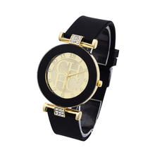 Hot sale Fashion Brand Gold Geneva sport Quartz Watch Women dress casual Crystal Silicone Watches montre homme relojes hombre(China)