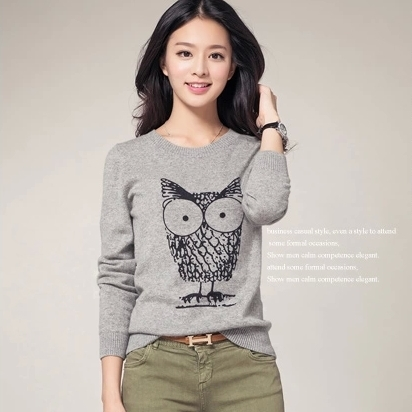 2017 autumn sweater Pure wool Sweater Owl pattern Female o-Neck Pullovers Women(China)