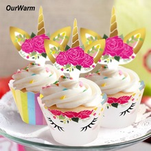 OurWarm 24Set Unicorn Cupcake Topper Birthday Party Decorations Rainbow Unicorn Theme Wedding Baby Shower Decor Party Supplies(China)