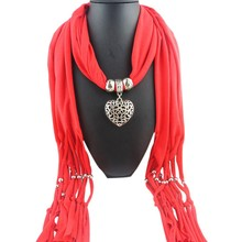 Women Tassel Beads Hollow Peach Heart Pendant Necklace Scarves Wrap Shawl Hollow double-sided peach heart pendant Scarf(China)