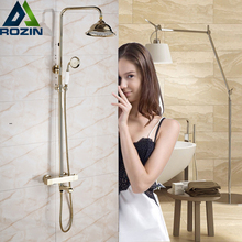 "Golden Dual Handle Bath Shower Set with Thermostatic Mixer Valve Surface Mounted Wall 8"" Rainfall Shower Faucet with Tub Spout"