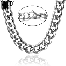 Buy HIP Hop 24 INCH 12MM CUT Steel Color Lobster Buckle Titanium Stainless Steel Curb Cuban Link Chain Necklaces Men Jewelry for $5.93 in AliExpress store