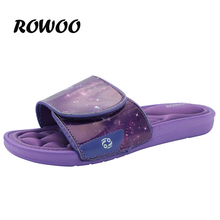 Rowoo 2016 New Men's Purple Memory Foam  Beach and Pool Sandals Fashion Slip on Message New Style Flip Flops Shoes