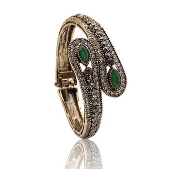 Classic Vintage Turkish Double Belt Bangles Women Jewelry Antique Gold&Silver Plating Crystal Bangle&Bracelet Bijoux Ladies Gift