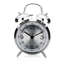 "Excelvan 4"" Alarm Clock Classic Double Bell Plated Metal Clock Quartz Sweep Movement Silent Table Desk Alarm Clock Nightlight(China)"