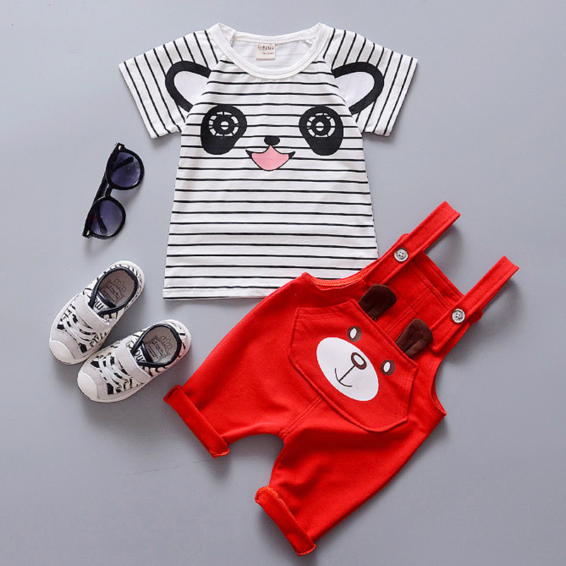 High Quality Baby Girls Clothes Sets Summer Cotton Kids Clothes Short   Sleeve Cartoon Bear Overalls Suits For Baby Boy Clothing<br><br>Aliexpress