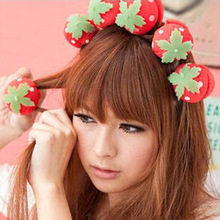 100% Brand New 12Pcs Sponge Strawberry Balls Hair Rollers Curlers DIY Hairdressing Tool GUB#